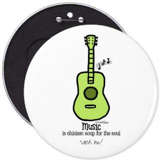Green Guitar - Music 6 Inch Round Button