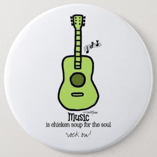 Green Guitar - Music Pinback Button