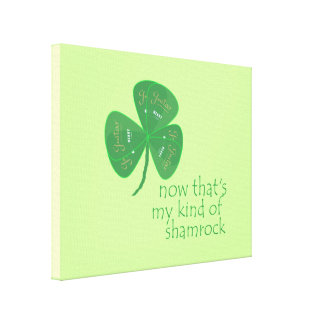 Green Guitar Pick Shamrock Stretched Canvas Prints