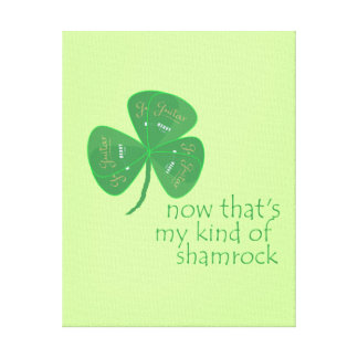 Green Guitar Pick Shamrock Stretched Canvas Print