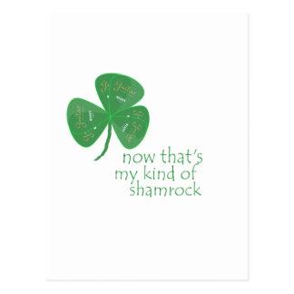 Green Guitar Pick Shamrock Postcards