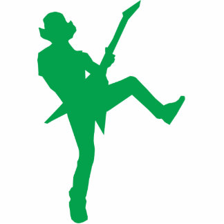 Green Guitar Player Silhouette Cut Outs