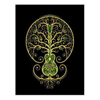Green Guitar Tree of Life on Black Postcards