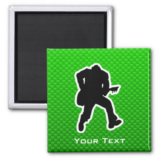 Green Guitarist 2 Inch Square Magnet