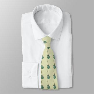 Green guitars on green neck tie