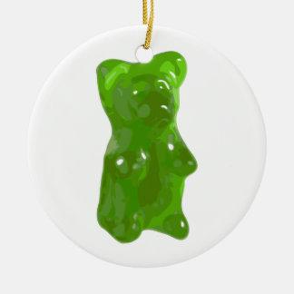 Green Gummy Bear Candy Ceramic Ornament
