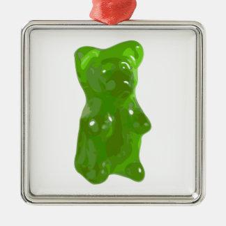 Green Gummy Bear Candy Metal Ornament