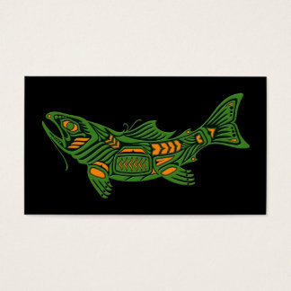 Green Haida Spirit Fish on Black Business Card