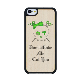 Green Hair Accessory Skull -Scissor Crossbones #3 Carved® Maple iPhone 5C Case
