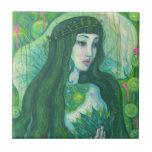 Green Hair Mermaid Underwater Fantasy Surreal Art Ceramic Tile