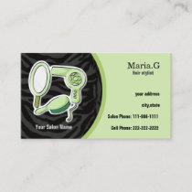 green Hair salon cards with appointment on back