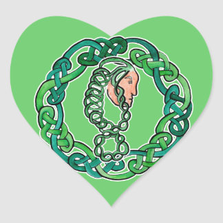Green Haired Celtic Head Heart Sticker