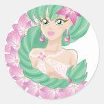 Green haired elf round sticker