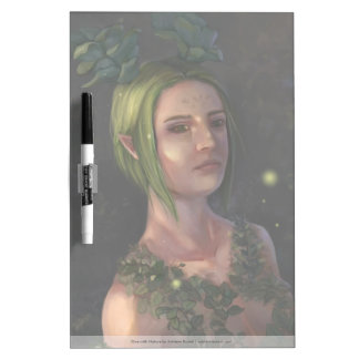 Green Haired Elf Woman Illustration Dry Erase Whiteboards
