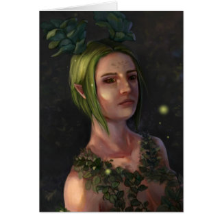 Green Haired Elf Woman Portrait Greeting Gard Card