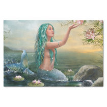 green haired mermaid tissue paper