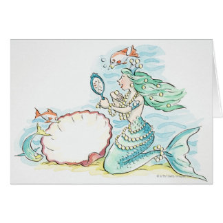 Green-haired mermaid wearing large selection of card
