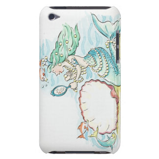 Green-haired mermaid wearing large selection of iPod Case-Mate case