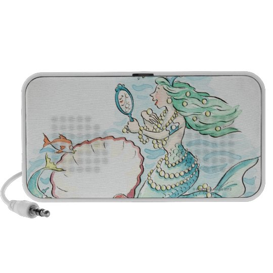 Green-haired mermaid wearing large selection of mini speaker