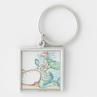 Green-haired mermaid wearing large selection of Silver-Colored square keychain