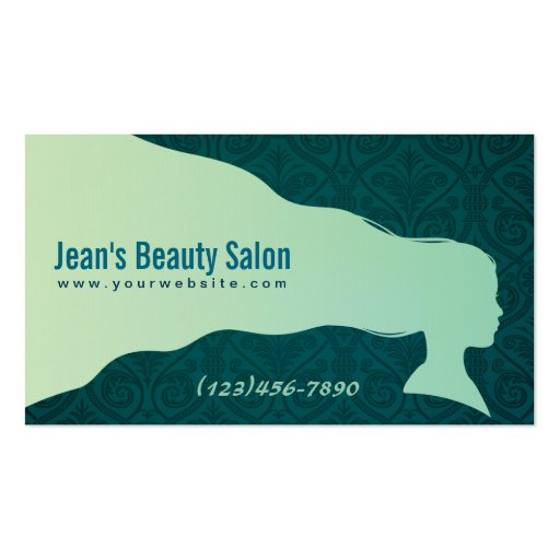 Green Hairstyle Beauty Salon Business Card