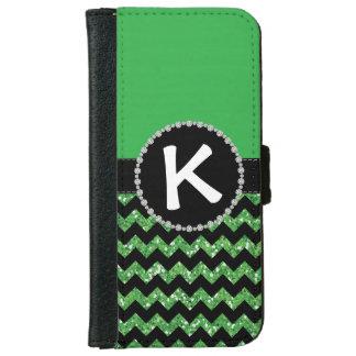 Green Half Glitter Chevron, Diamond Ribbon Flap iPhone 6 Wallet Case