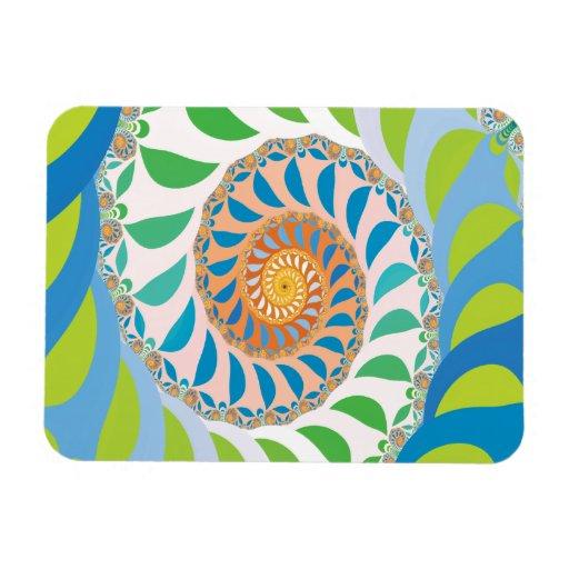 Green Half Moon Spiral Fractal Vinyl Magnets