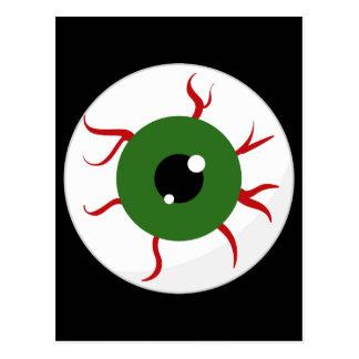 Green Halloween Eyeball Post Card