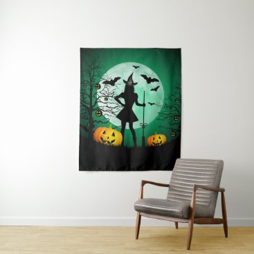 Halloween Themed Green Halloween Medium Wall Tapestry