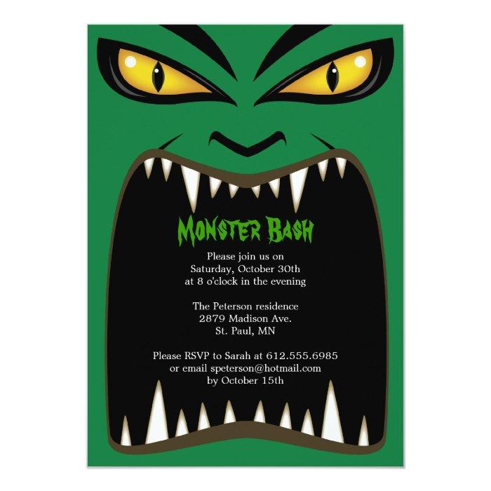 Green Halloween Monster Bash Invitation