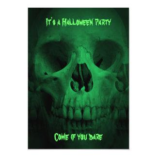 Green Halloween party skull Card