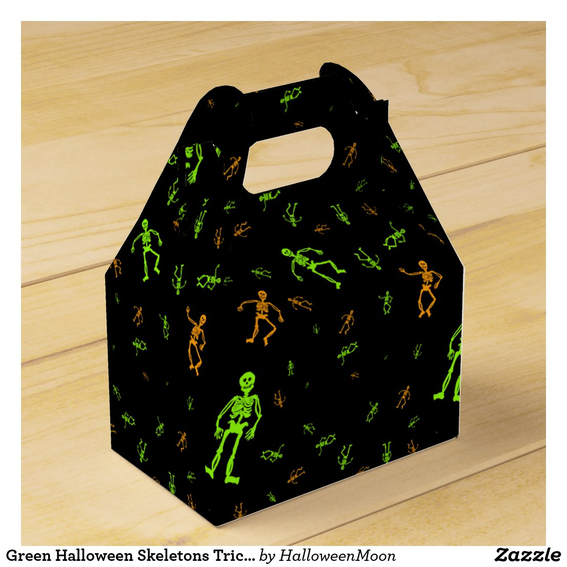 Green Halloween Skeletons Trick or Treat Favor Box