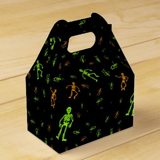 Green Halloween Skeletons Trick or Treat Favor Box