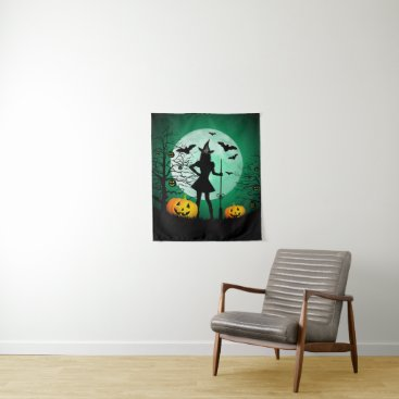 Halloween Themed Green Halloween Small Wall Tapestry