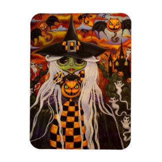 Green Halloween Witch Girl Cat Pumpkins, Ghosts Magnet