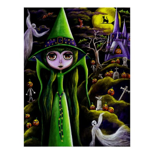 Green Halloween Witch Poster