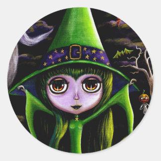 Green Halloween Witch Sticker