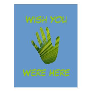 Green Hand Cut Out Postcard
