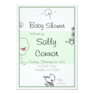 Green hand-drawn cartoon baby shower invitation