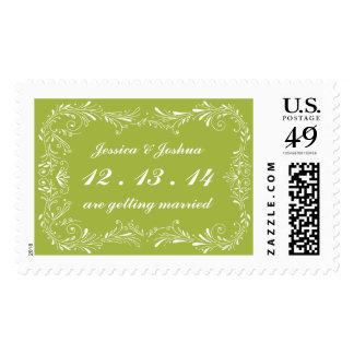 Green Hand Drawn Foliage wedding postage stamp Postage Stamps