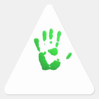 Green hand-print icon triangle sticker