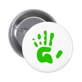 Green Hand Print Pinback Button