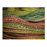 green handspun yarn postcard