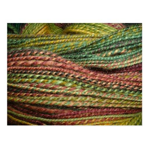 green handspun yarn postcards