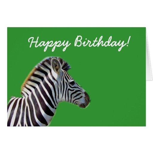 Green Happy Birthday Zebra Card