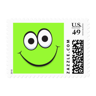 Green happy cartoon face yellow postage stamps