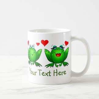 Green Happy Cartoon Frogs Save the Swamp Coffee Mugs