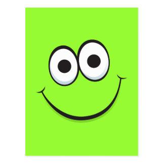 Green happy cartoon smiley face postcard