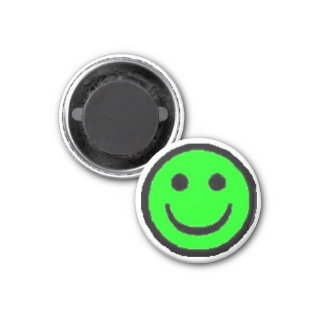 Green Happy Face Fridge Magnet