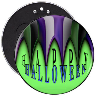 Green Happy Halloween Striped Fangs Pinback Button